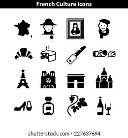 French Culture Icon Set. Basic Signs of France
