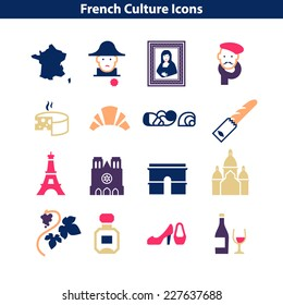 French Culture Icon Set. Colorful Signs of France