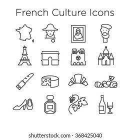 French Culture Icons, Culture Signs of France, Traditions of France, French Life, National Objects of France, Line Icons, Stroke Icons, French Culture Line Icons