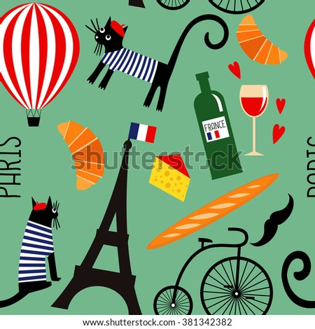 French Culture Symbols Seamless Pattern Cartoon Stock Vector