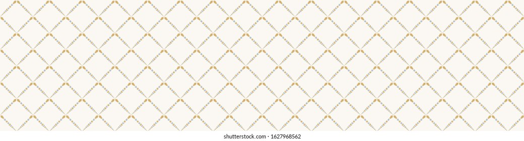 French damask shabby chic floral trellis vector texture border background. Pretty daisy flower banner seamless pattern. Hand drawn floral interior home deco ribbon trim. Classic rustic farmhouse style