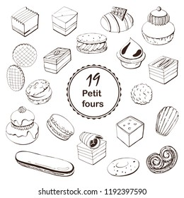 French dessert hand drawn sketch with  petit fours, Religieuse , Eclair . Linear images for logo, icons, menu design and other