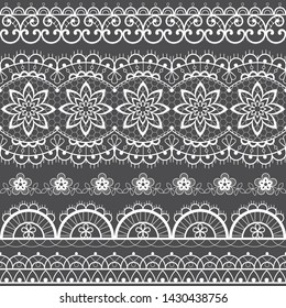 French or English lace seamless pattern set, white ornamental repetitive design with flowers - textile design. Decorative symmetric lace repetitive ornaments collection, vintage decoration