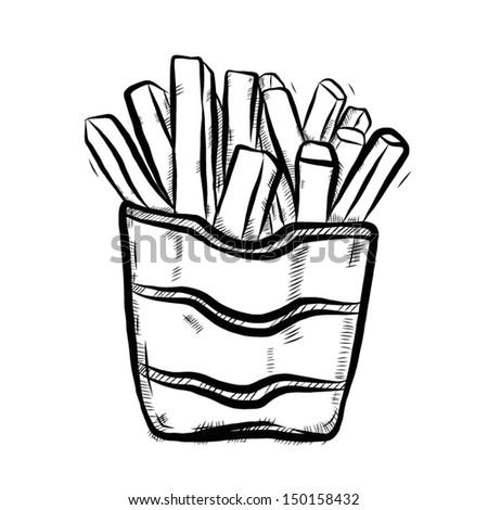 french fires cartoon vector illustration hand stock vector royalty