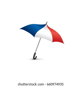 French flag colored umbrella. Travel France sign. French fashion accessory isolated.