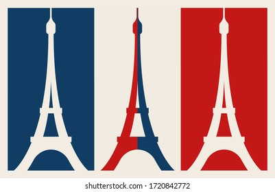 French flag with eiffel tower