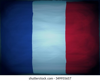 The French flag in grunge style with wear tracks and chalk traces.