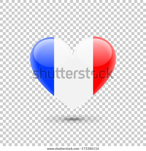 French Flag Heart Icon On Transparent Stock Vector Royalty Free 573386116