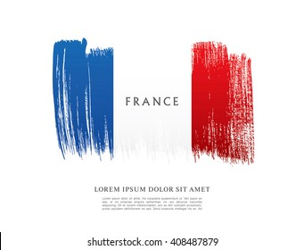 French flag made in brush stroke background