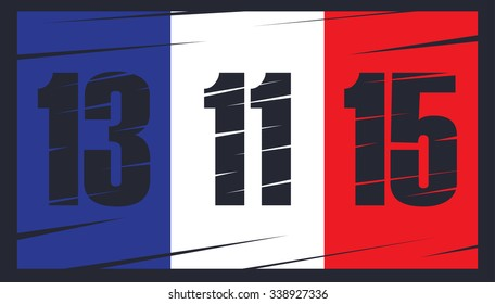 French flag on dark background. Date 13 11 15. The day of terrorist attack in Paris.