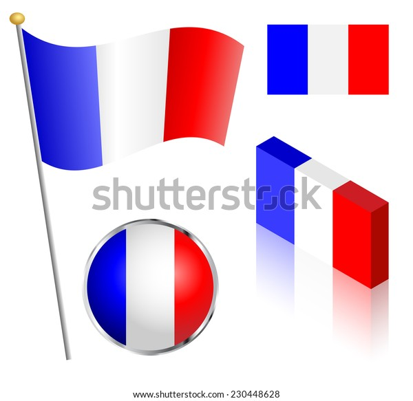 French flag on a pole, badge and isometric designs vector illustration.