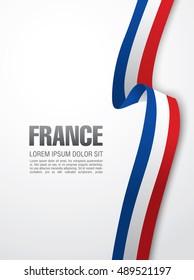 French flag ribbon over white background