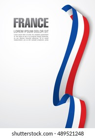 French flag ribbon over white background