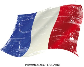 French flag with a texture in the wind