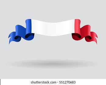 French flag wavy abstract background. Vector illustration.