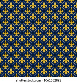 French fleur de lis, lily texture, yellow and blue