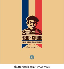 French food, French cuisine restaurant logo, French man icon, bon appetit