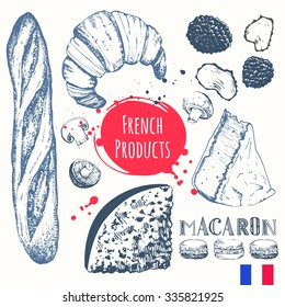 French food in the sketch style. European traditional products. Vector illustration of ethnic cooking: croissants, brie cheese, baguette, truffles. Main course, snacks and dessert.