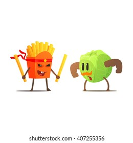 French Fries Against Cabbage Cartoon Fight Flat Vector Funny Illustration In Childish Style On White Background