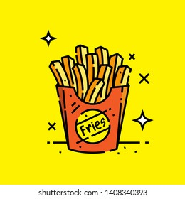 French fries colour line icon. Fast food potato chips graphic. Vector illustration.