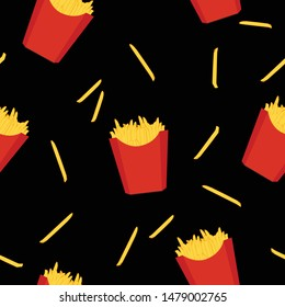 French fries fast food seamless pattern, background.