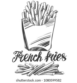 French fries , fastfood, logo, and drawn vector illustration realistic sketch
