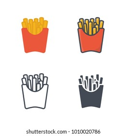 French fries flat silhouette line colored icon