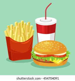 French fries, hamburger and soda takeaway vector illustration.fast food  menu