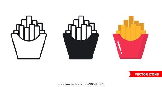 French fries icon of 3 types: color, black and white, outline. Isolated vector sign symbol.
