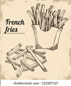 French fries illustration, vector drawing in the old background. A sketch in ink.