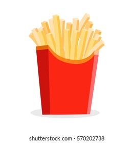 french fries isolated at the white background