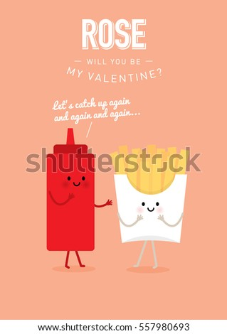 French Fries Ketchup Valentines Day Template Stock Vector Royalty