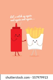 french fries and ketchup vector/illustration