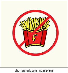 French fries - no fast food vector sign ,French Fries in red and white striped paper Box. Fastfood vector Design