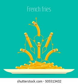 French fries. Fries on a plate vector. Funny, cartoon fried potatoes on a plate. Cartoon characters smiling and laughing. Funny fries, food vector. Vector illustration, flat design