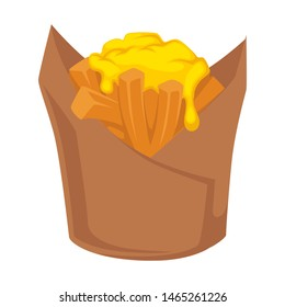 French fries in package potato sticks with cheese vector isolated dish fastfood product served with melting sausage meal for taking out, takeout or takeaway unhealthy ingredients with fat flat
