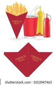 french fries packaging box die-cut cone shape