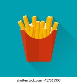 French fries in paper box, isolated. Vector illustration,  flat design with long shadow. French fries fast food in a red package.