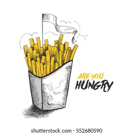 French fries in paper box for monochrome fast food ad, Hand Drawn Sketch Vector illustration.