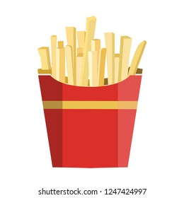 French fries in paper red box, icon. Vector illustration, flat design. Fast food icon