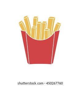 French fries in paper red box, icon. Vector illustration, flat design. Fast food icon.