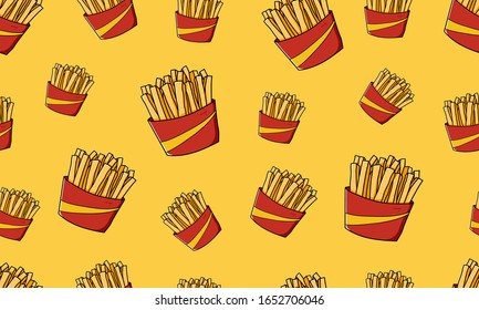 french fries potato fried crunchy junk food illustration pattern vector