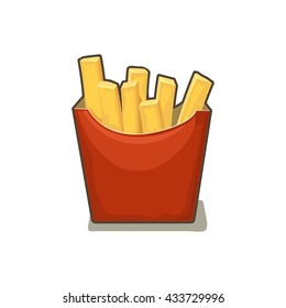 French Fries Potato In Red Paper Box Isolated On White Background With Shadow Vector