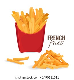 French fries potatoes in red paper carton package box. Vector