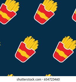 French Fries seamless food pattern. Fast food and eating concept.