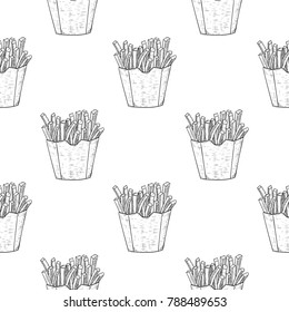 French fries as seamless pattern. Black and white hand drawn sketch. Vector illustration
