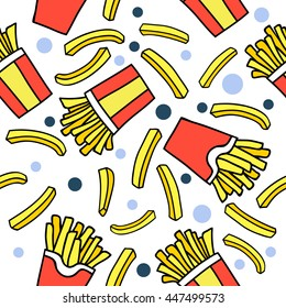French fries. seamless pattern. Endless texture can be used for wallpaper, pattern fills, web page background,textures.for printing on fabric, paper, scrapbooking