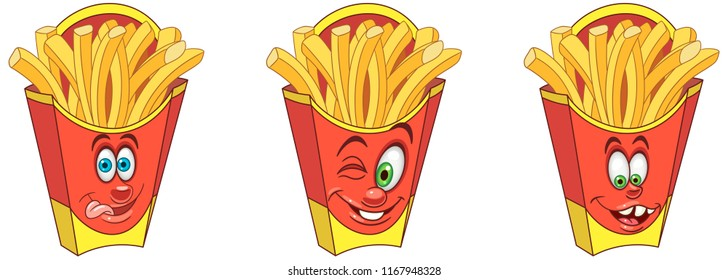 French Fries. Snack Food concept. Emoji Emoticon collection. Cartoon characters for kids coloring book, colouring pages, t-shirt print, icon, logo, label, patch, sticker.