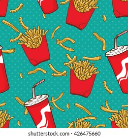 French Fries and Soft drinks seamless pattern