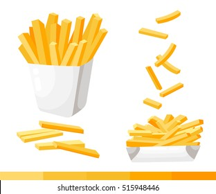 French fries. Vector illustration, flat design. French fries in paper box, isolated vector set of fast food icons potato